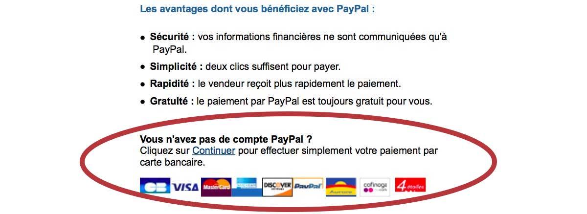 vous pouvez payer sans compte paypal via paypal